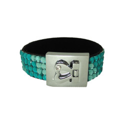Glittering Bracelet Heart Clasp Aquamarine