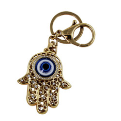 Hamsa Key Chain and Purse Charm with Symbol of Inner Eye