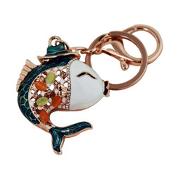 Whimsical Koi Fish Wearing Hat Key Chain and Purse Charm