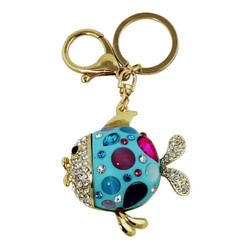 Cute and Sparkly Round Fish Key Chain and Purse Charm Blue