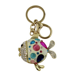 Cute and Sparkly Round Fish Key Chain and Purse Charm White
