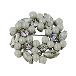 Elegant Lady Pearls and Crystals Brooch