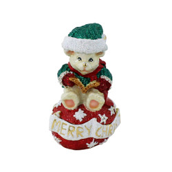 Merry Christmas Teddy Bear with Amber Caroling Book Trinket Box