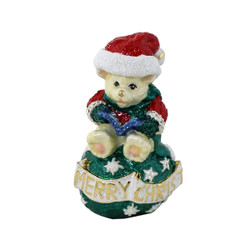 Merry Christmas Teddy Bear with Blue Caroling Book Trinket Box