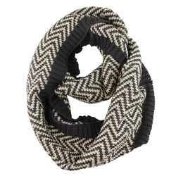 Woven Zigzag Infinity Scarf with Borders Black and White