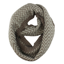 Woven Zigzag Infinity Scarf with Borders Brown and Mint