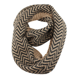 Woven Zigzag Infinity Scarf with Borders Brown and Black