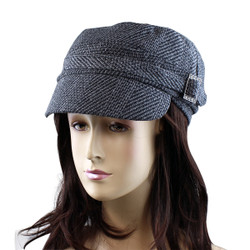 Houndstooth Print Revolutionary Cap with Jeweled Buckle Detail Black