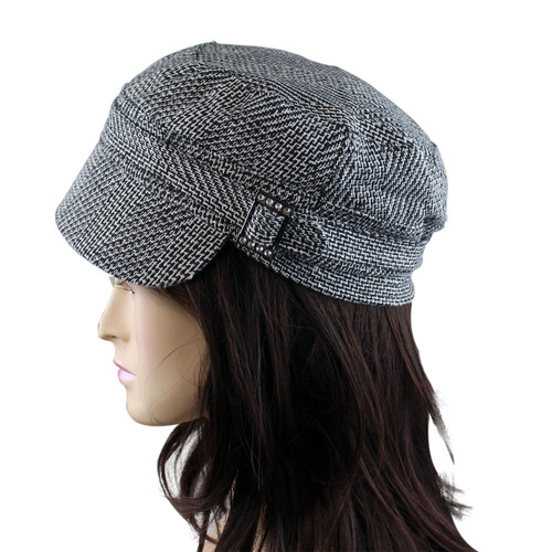 Houndstooth Print Revolutionary Cap with Jeweled Buckle Detail Grey