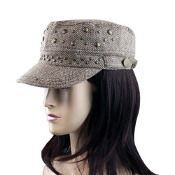 Subtle Zigzag Pattern Revolutionary Cap with Studs Brown