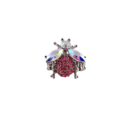 Pink Crystal Bumble Bee Oversize Stretch Ring