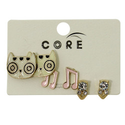 Sparkly, Dizzy Kitty, and Musical Notes Earring Studs Gold