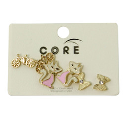 Bows Bikes and Kitties Earrings Studs Gold