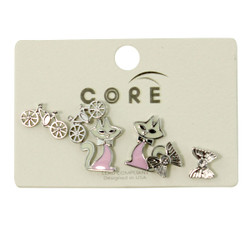 Bows Bikes and Kitties Earrings Studs Silver