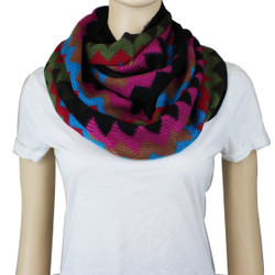 Soft Thin Wave Chevron Pattern Infinity Scarf Pink, Turquoise, Black
