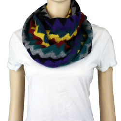Soft Thin Wave Chevron Pattern Infinity Scarf Mustard, Purple, Rust