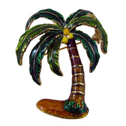Palm Tree Pin Pendant Enameled