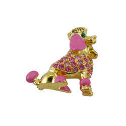 Pink Poodle Pin Pendant Jeweled