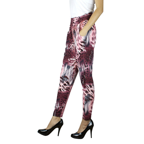Harem Pants with Pockets Leopard Feather Print