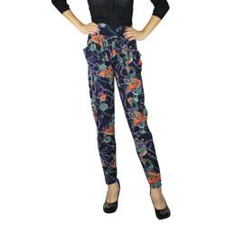 Harem Pants with Pockets Vintage Strap Print