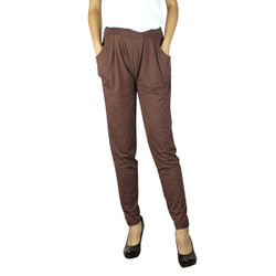Solid Color Harem Pants with Pockets Brown