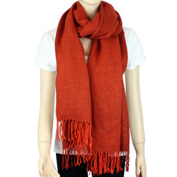 Giant Soft Wrap Scarf Solid Color with Tassel Orange