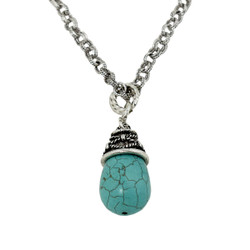 Tribal Teardrop Necklace Turquoise Blue Silver