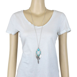 Tribal Fish Style Long Necklace Turquoise Blue Beads Silver