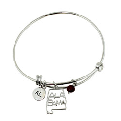 Alabama State Charms Bangle Bracelet Silver