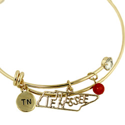 Tennessee State Charms Bangle Bracelet Gold