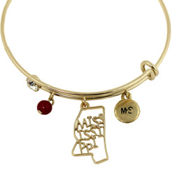 Mississippi State Charms Bangle Bracelet Gold