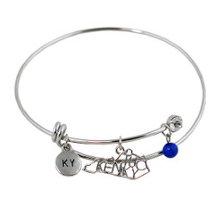 Kentucky State Charms Bangle Bracelet Silver