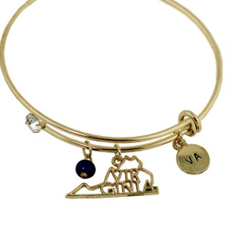 Virginia State Charms Bangle Bracelet Gold
