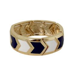 Chevron Elastic Bangle Bracelet Blue & White