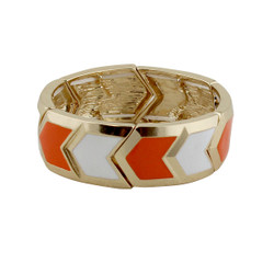 Chevron Elastic Bangle Bracelet Orange & White