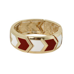 Chevron Elastic Bangle Bracelet Red & White