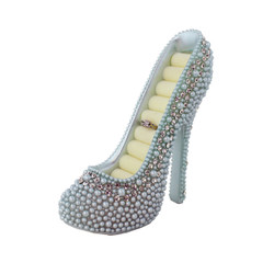Pearl Crystal Shoe Ring Holder Blue