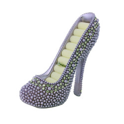 Pearl Crystal Shoe Ring Holder Purple