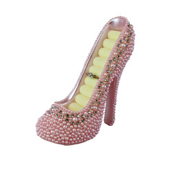 Pearl Crystal Shoe Ring Holder Pink
