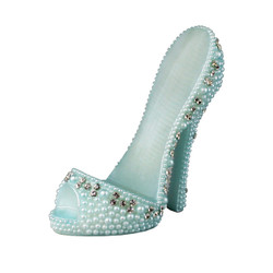 Pearl Crystal Shoe Cell Phone Holder Blue