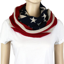 Old Glory Knitted Infinity Scarf American Flag