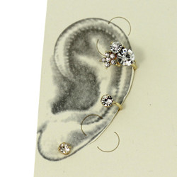 Rhinestone Star-Shaped Left Ear Cuff Set Gold