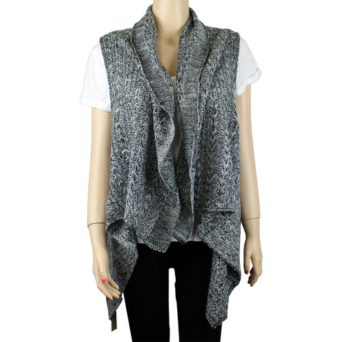 Draping Knitted Scarf Vest Layered Grey