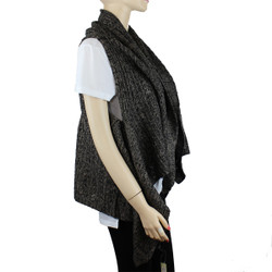 Draping Knitted Scarf Vest Layered Brown