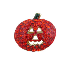 Pumpkin Pin Brooch Halloween Bejeweled