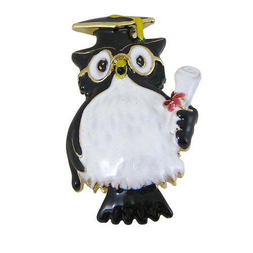 Cap and Gown Owl Graduation Pin
