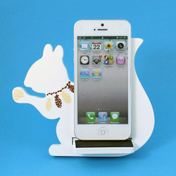 Squirrel Cell Phone Holder Wood Stand White