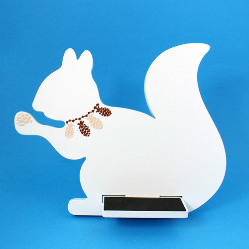 Squirrel Tablet / iPad Holder Wood Stand White