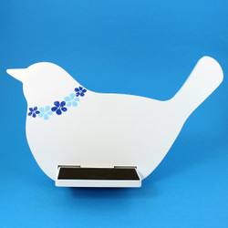 Bird Tablet / iPad Holder Wood Stand White