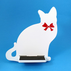 Cat Tablet / iPad Holder Wood Stand White